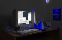 Night test render of the 3D scene