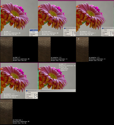AA methods comparisions - multiple renders with a 3D gerbera