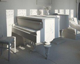 Clay render: final light setup for the piano perspective