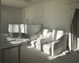 Clay render: final light setup for the armchairs perspective