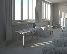 Clay render: final light setup for the windows perspective