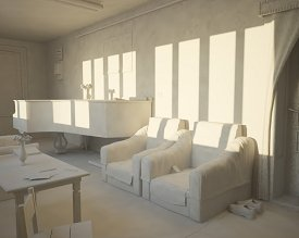Summer evening sunlight: early clay render [Armchairs perspective]