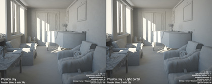 Physical sky and Light portal render comparison