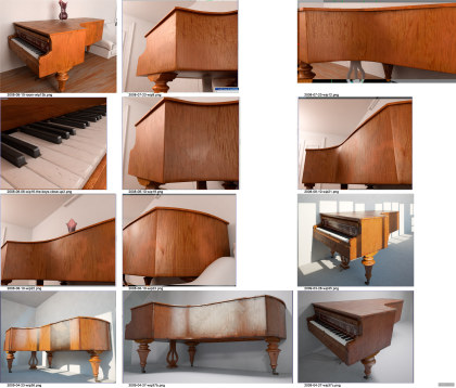Piano: early WIP renders
