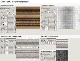 Chair's seat material channel shaders