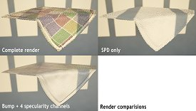 Table cloth on the piano: comparative renders