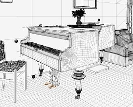 Wireframe: Piano room POV 1