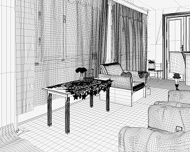 Wireframe: Piano room POV 3