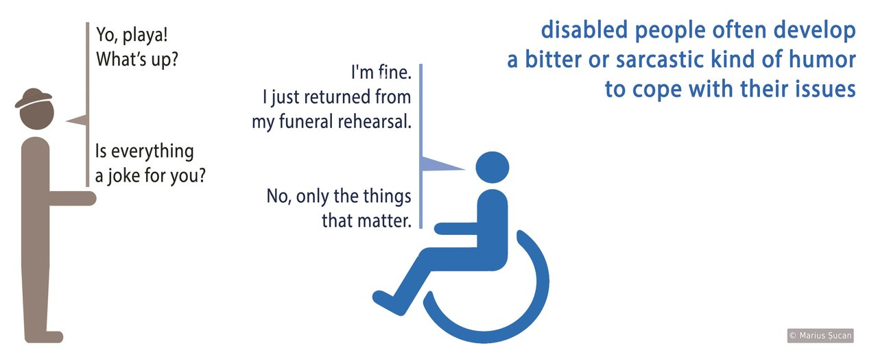 Disabled person jokes about death