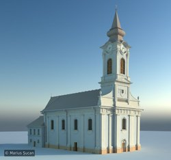 The entire church 3D model. Clay render.