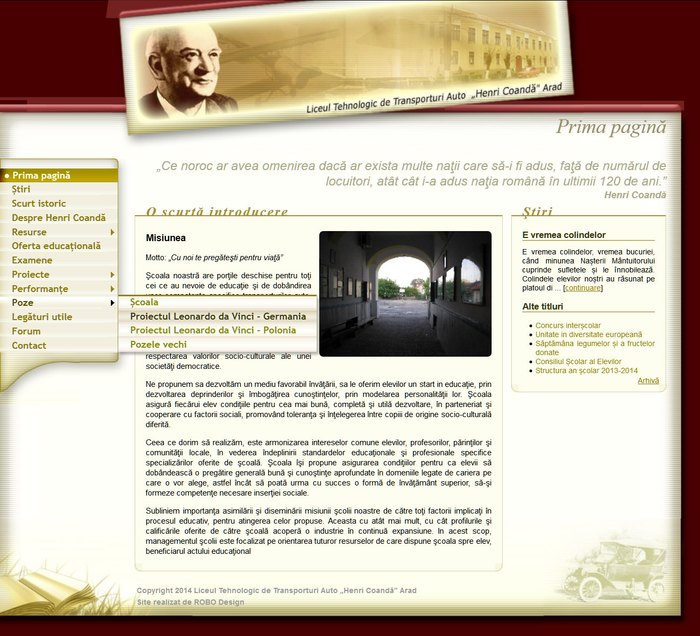 Site interface for Henri Coandă High School from Arad, Romania